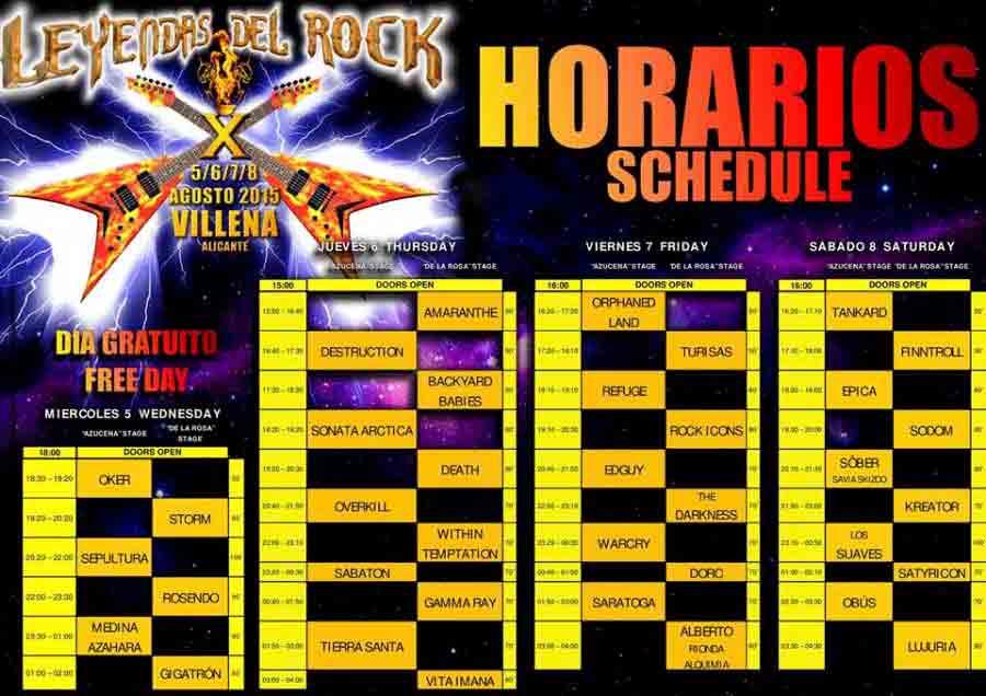 Leyendas del Rock'15: Horarios del festival