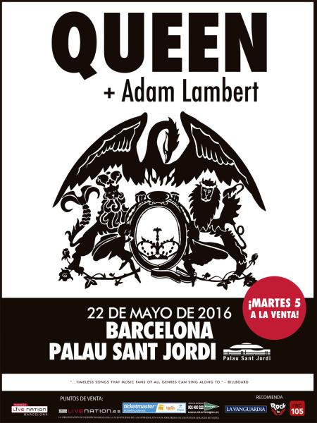 Queen + Adam Lambert en Barcelona, fecha única en 2016