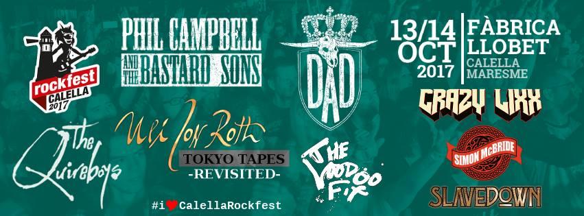 Distribución de bandas por días del Calella Rock Fest'17