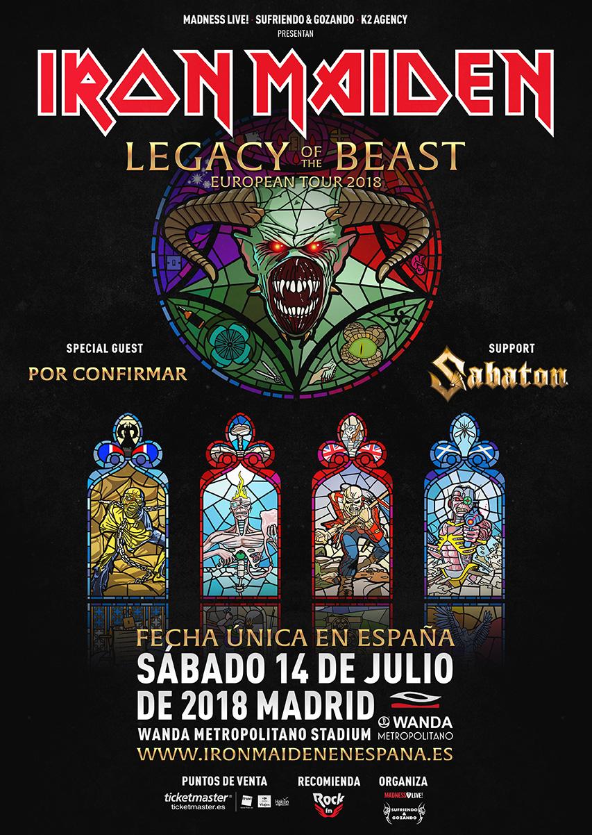 Iron Maiden Fecha única en España · Sábado 14 de Julio 2018 Estadio Wanda Metropolitano (Madrid)