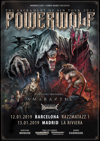 Gira de Powerwolf, Amaranthe y Kissin' Dynamite por España