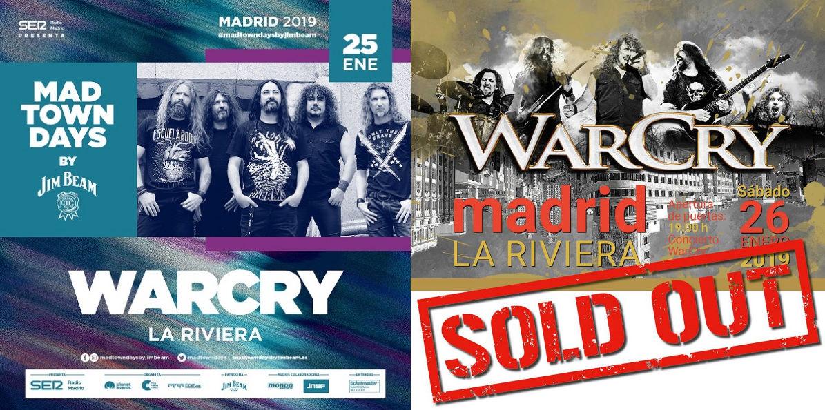 Doblete de WarCry en La Riviera a finales de mes