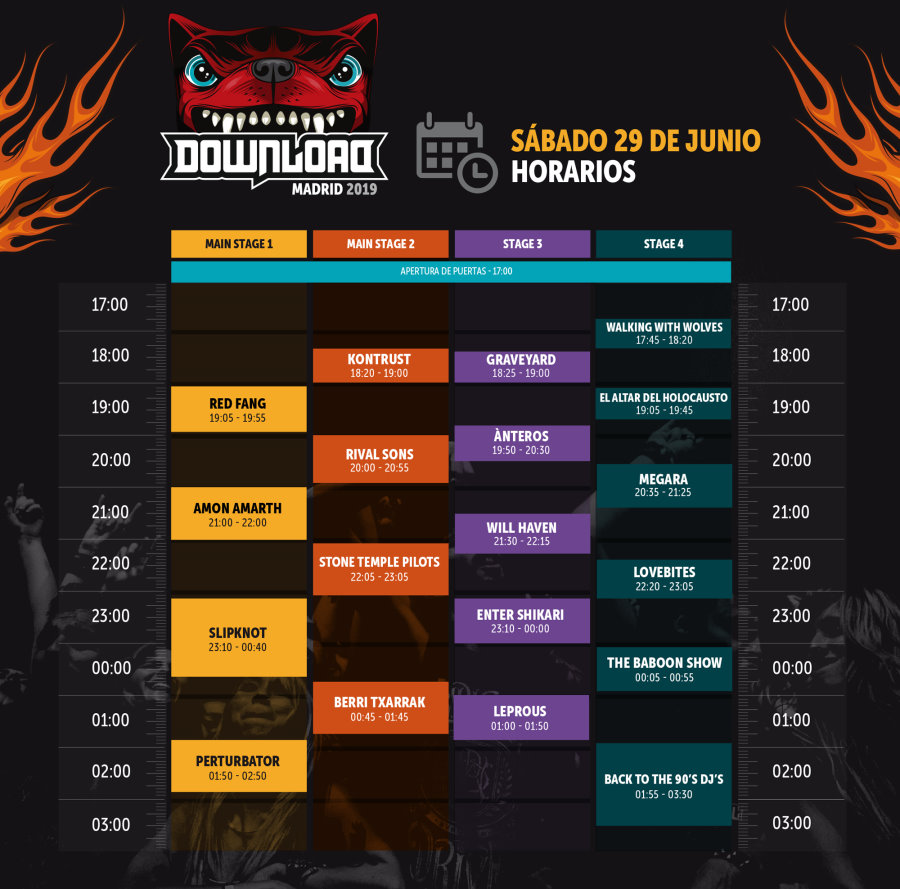 Horarios del Download Festival'19