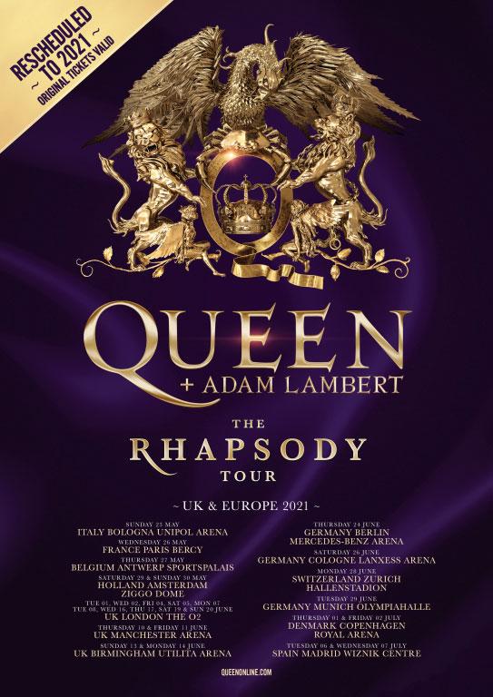 Queen pospone su gira europea a 2021