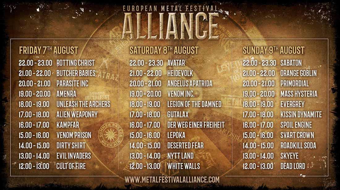 Horarios del European  Metal Festival Alliance