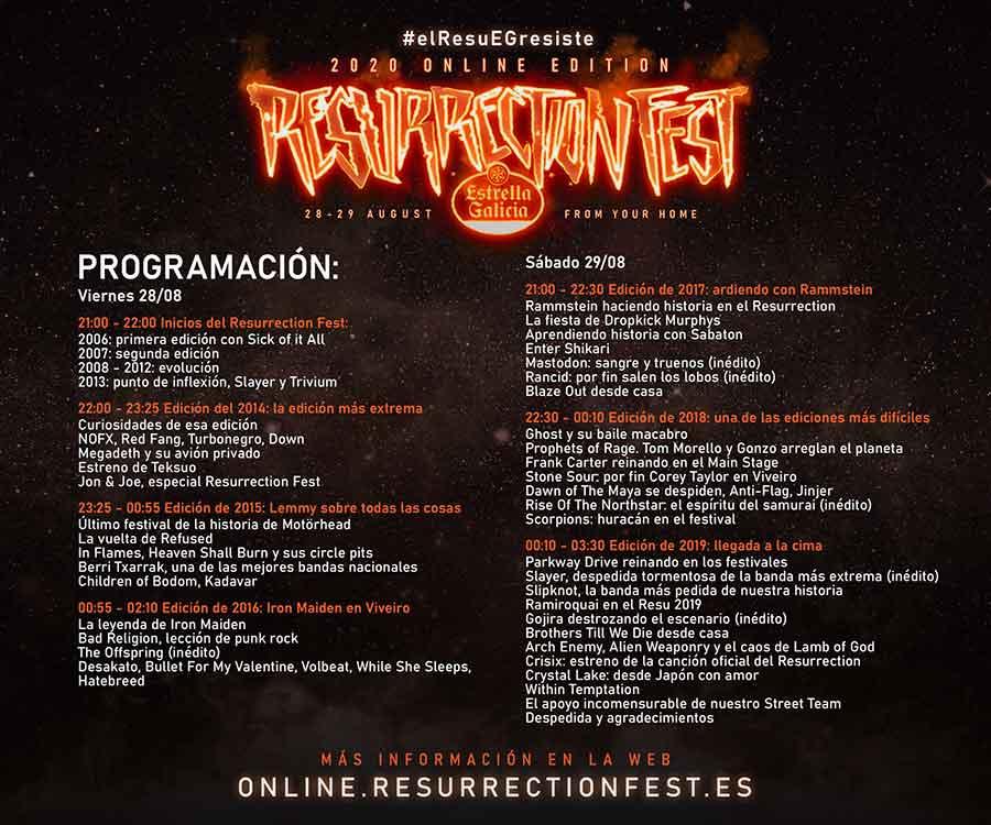 Horarios del #elResuEGresiste, la edición online del Resurrection Fest