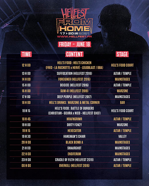 Hellfest from Home, horarios disponibles